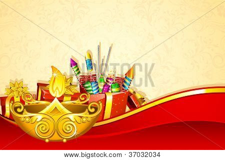illustration of decorated diwali diya with fire cracker gift box