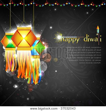illustration of hanging lantern with firework in diwali night