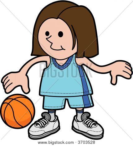 Illustration Of Girl Playing Basketball