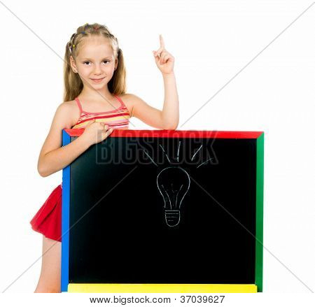 the little girl has an idea. white background