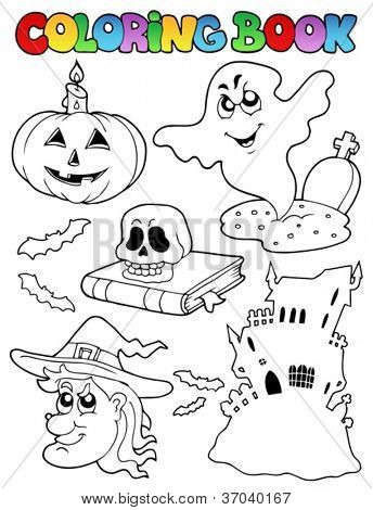 Coloring book Halloween topic 9 - vector illustration.