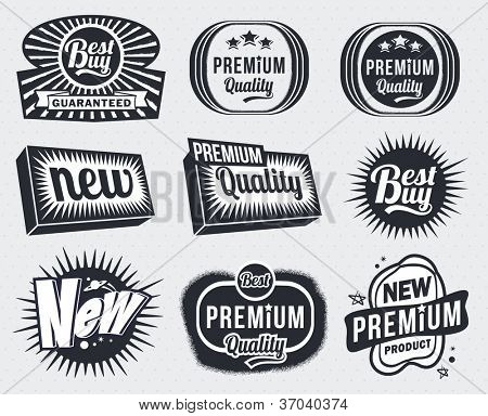 Set of Premium Quality and Guarantee Labels - retro vintage styled design