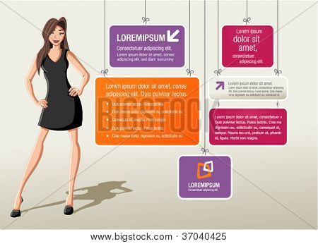 Colorful template for advertising brochure with cartoon woman.