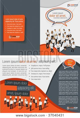 Orange and gray template for advertising brochure with business people