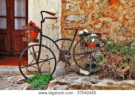 Deia traditional stone village in Majorca , streets decoration