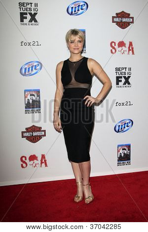 """LOS ANGELES - SEP 8:  Sarah Jones arrives at the """"Sons of Anarchy"""" Season 5 Premiere Screening at Village Theater on September 8, 2012 in Westwood, CA"""