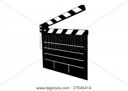 A silhouette of a movie clap isolated on white background
