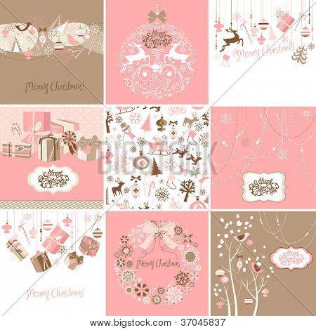 Conjunto de cartões de Natal-de-rosa e marrons