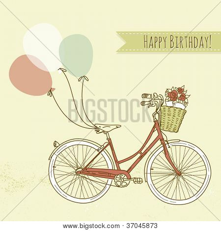 Bicycle with balloons and a basket full of flowers, Romantic Birthday card