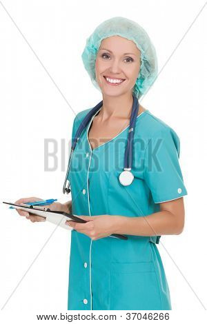 Cheerful medical doctor woman with stethoscope and clipboard. Isolated over white background
