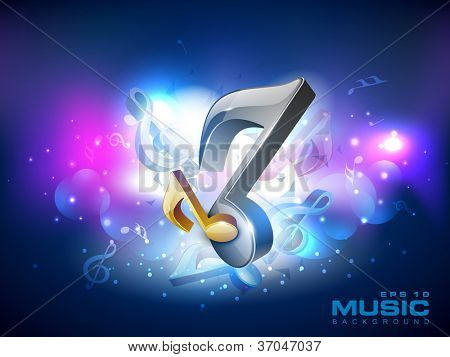 3D musical notes on shiny background. EPS 10.