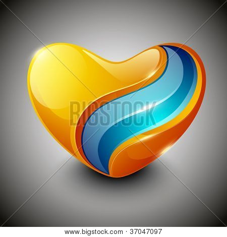 Glossy heart shapes design isolated on grey background. EPS 10, can be use as label, sticker, tag, button and icon.