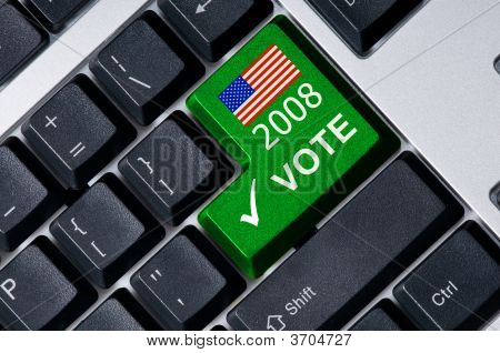 Keyboard With Green Key Vote
