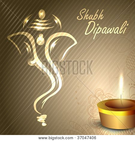 Illustration of Hindu Lord Ganesha with illuminated oil lamp background for Diwali festival in India. EPS 10.