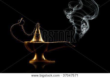 alladin lamp isolated on black