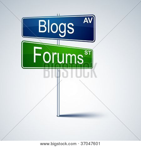 Vector direction road sign with blogs forums words.