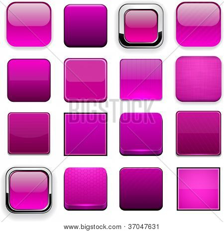 Set of blank magenta buttons for website or app. Vector eps10.