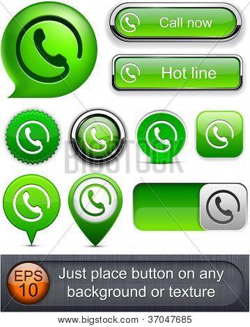 Chame botões verde web site ou app. o vetor eps10.