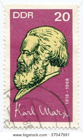 GERMANY - CIRCA 1968: Postage stamp printed in Germany  of Karl Marx , circa 1968