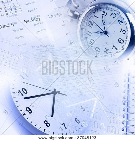 Clock faces, calendars and diary pages