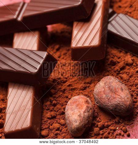 Schokolade mit Kakaobohnen