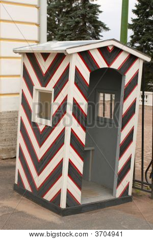 Black White Striped Sentry Box