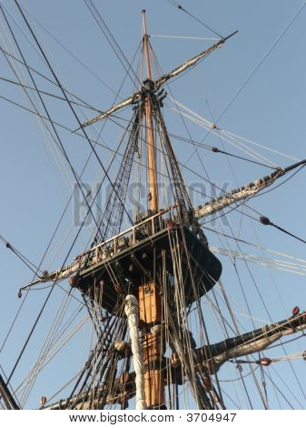 Looking Up At The Very Tall Mast On A Tall Ship.