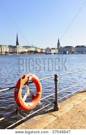 Quay of Alster in Hamburg, Germany