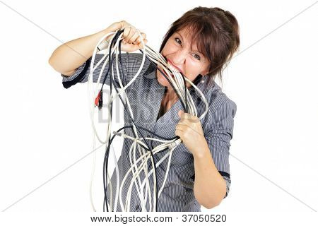 stressed business woman biting electric cables