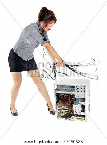 crazy business woman whipping computer with wires