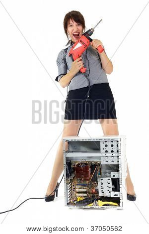insane woman destroying computer with drill