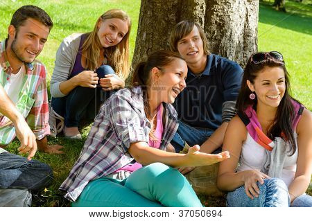 Students relaxing in schoolyard teens meadow park laughing campus young