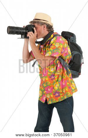 Typical tourist with backpack and photo camera