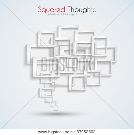 Abstract business card background with a conceptual speech bubble made of three-dimensional squares with shadows. Ideal for covers or brochures.