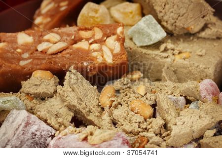oriental sweets - sherbet, halva and turkish delight close-up