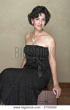 Beautiful Happy Adult Woman With Black Curly Hair