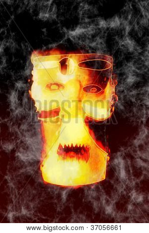Scary mask illustration - Fear sorcery - Halloween theme
