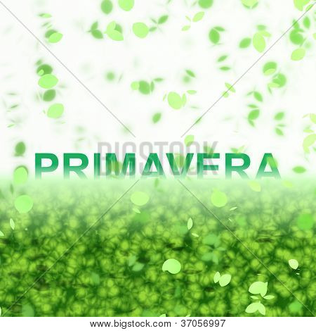 A seasonal word/phrase from a text effect series. Primavera is in Portuguese-BR language and it means Spring