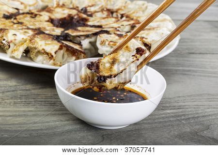 Chinese Dumplings With Chopsticks