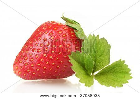 sweet ripe strawberry with leaves isolated on white