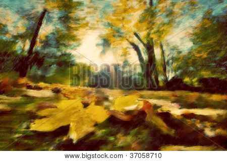 Autumn park vintage painting. Leaves, colors of fall, retro mood.