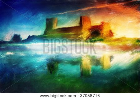 Old castle painting. Magical sunset at the river. Vintage stylized