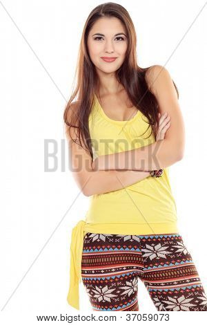Beautiful young woman looking at camera. Isolated over white background.