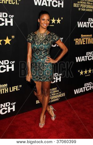 "LOS ANGELES - SEP 17:  Zoe Saldana arrives at the ""End Of Watch"" Premiere at Regal Cinemas L.A. Live on September 17, 2012 in Los Angeles, CA"