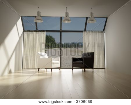 Living Room With Sight On The Sea