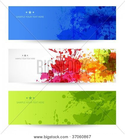 set of three grunge banners with splatters, easy editable