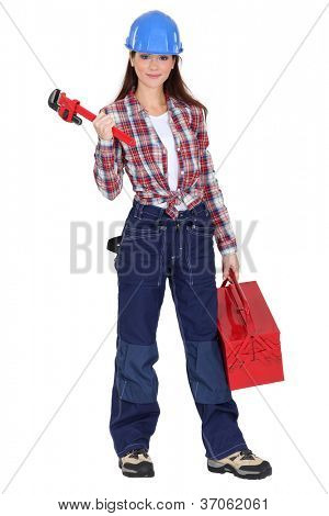 Eager young female plumber