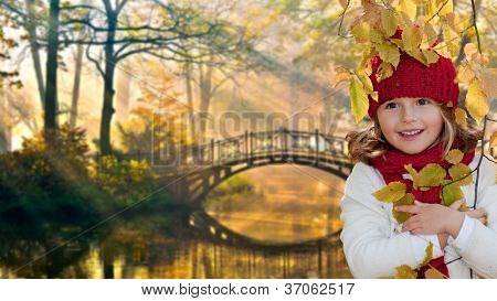 Autumn - portrait of lovely girl in autumn park