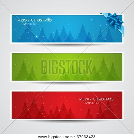 Set of vector christmas New Year horizontal banners