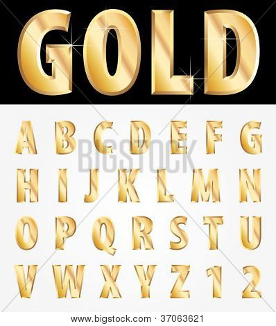 vector 3d golden alphabet